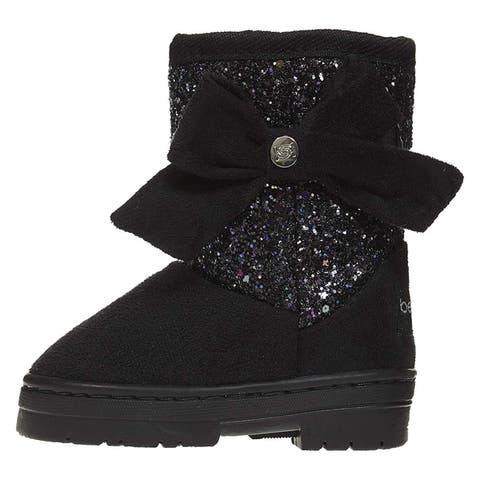 bebe Toddler Girls Microsuede Glitter Winter Boots Bow Slip-On Shoes