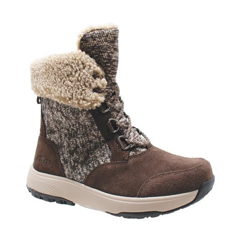 Womens Microfleece Lace Winter Boot Brown