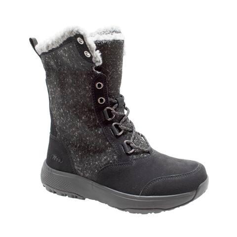 Womens Microfleece Lace Winter Boot Black