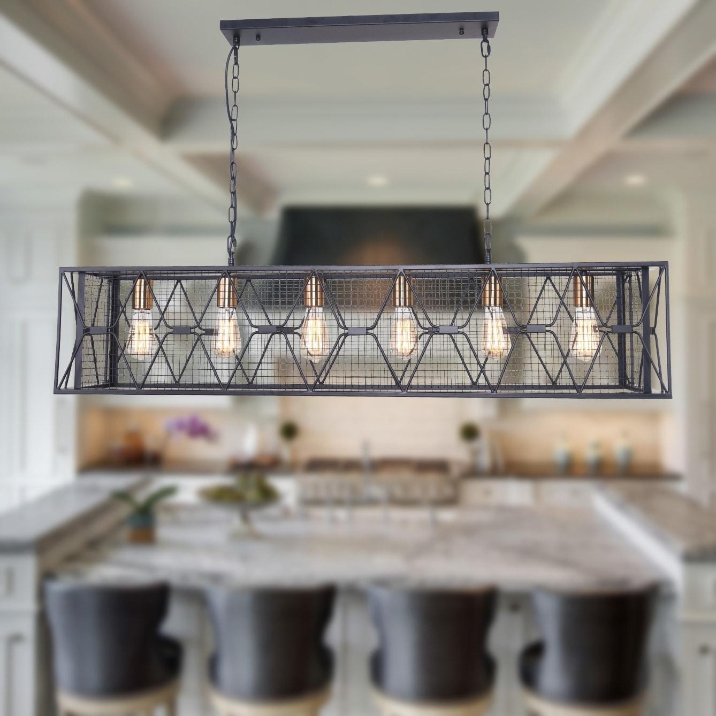 Shop Black Friday Deals On Carbon Loft Scheman Industrial 6 Light Linear Kitchen Island Pendant Overstock 30272294