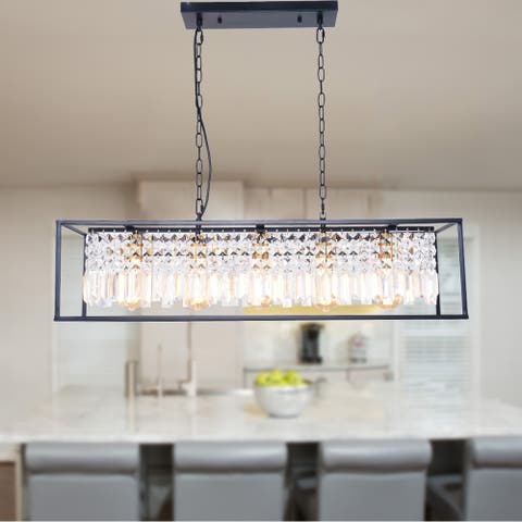 5-Light Linear Kitchen Island Lighting, Modern Crystal Island Light Pendant Light Fixture, Black Finish with Clear Crystal Shade