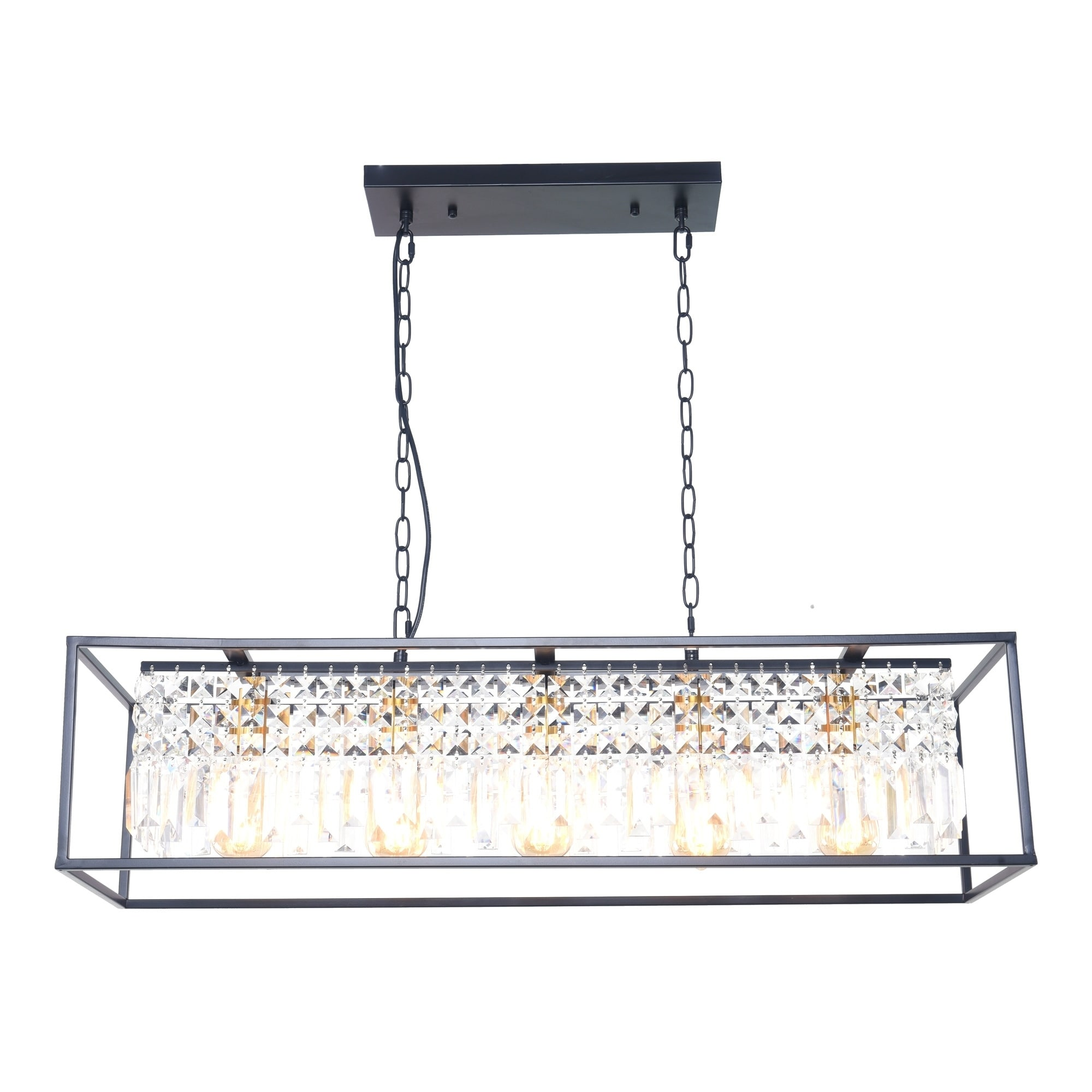 Shop Black Friday Deals On 5 Light Linear Kitchen Island Lighting Modern Crystal Island Light Pendant Light Fixture Black Finish With Clear Crystal Shade Overstock 30272304