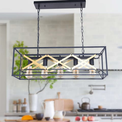 5-Light Kitchen Island Pendant, Matte Black with Brown Finish, Geometric Modern Industrial Dining Room Chandelier
