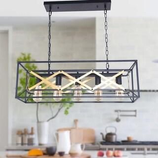 5-Light Kitchen Island Pendant, Matte Black with Brown Finish, Geometric Modern Industrial Dining Room Chandelier