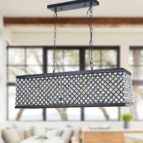 4-Light Kitchen Island Lighting, Black Metal and Clear Crystal Glass Linear Dining Room Chandelier, Adjustable