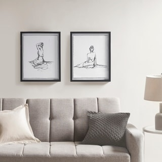 Madison Park Feminine Figures Black/ White Deckle Edge Sketch 2 Piece Framed Wall Art Set