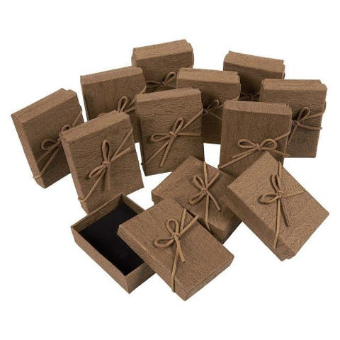 12pcs Brown Jewelry Wedding Gift Boxes Cardboard Bag for Ring Pendant Necklace