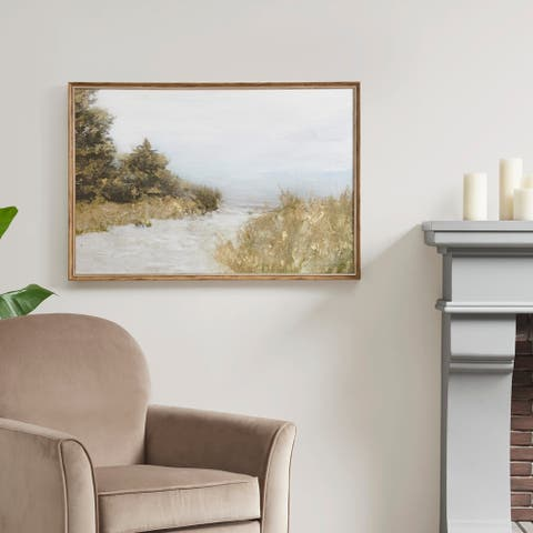 Martha Stewart Lake Walk Multi Framed Gel Coated Canvas