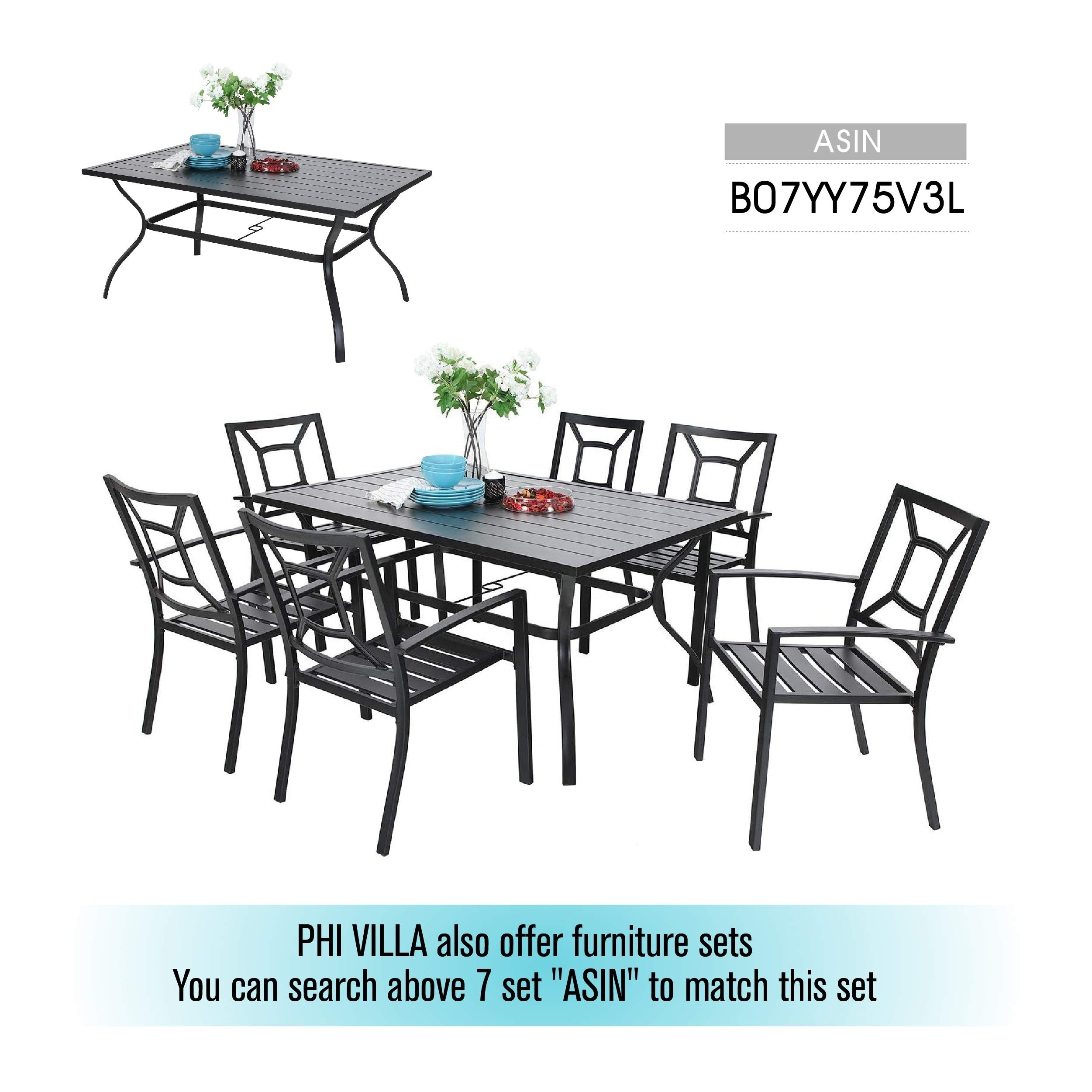 Outdoor Metal Dining Table Garden 6 Person Umbrella Table For Lawn Patio Pool Sturdy Steel 1 Table Overstock 30272830