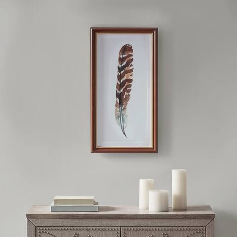 Martha Stewart Wind Feather I Multi Framed Glass Wall Art Single Mat