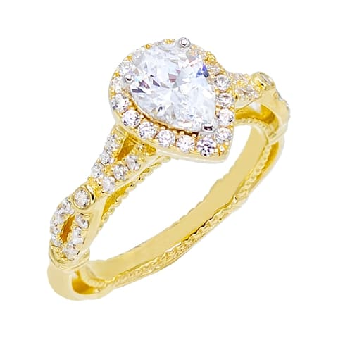 Gold Plated Pear Shape Cubic Zirconia with Halo Set Inifinity Pave Set Shank and Filigree Gallery Vintage Style Ring