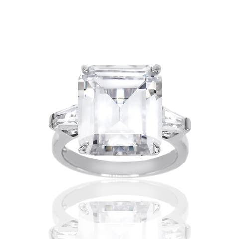 17.43 ct Emerald Cut Cubic Zirconia Three Stone Engagement Ring