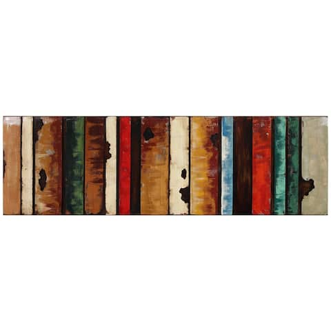 """Rustic Flow 1"" Mixed Media Iron Hand Painted Dimensional Wall Art"