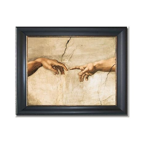Creation of Adam (Detail) by Michelangelo Black & Gold Framed Canvas Art (22 in x 28 in Framed Size)