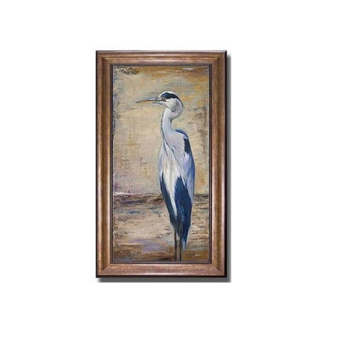 Blue Heron II by Patricia Pinto Bronze-Gold Framed Canvas Art (28 in x 16 in Framed Size)