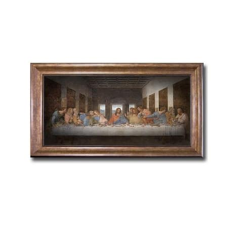 The Last Supper by Leonardo da Vinci Bronze-Gold Framed Canvas Art (16 in x 28 in Framed Size)