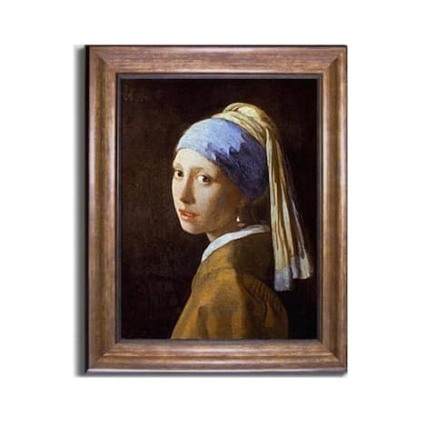 Girl with Pearl Earring by Johannes Vermeer Bronze-Gold Framed Canvas Art (24 in x 20 in Framed Size)