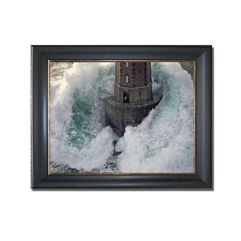 La Jument Lighthouse by Jean Guichard Black & Gold Framed Canvas Art (22 in x 28 in Framed Size)