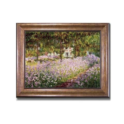 Artist's Garden at Giverny by Claude Monet Bronze-Gold Framed Canvas Art (22 in x 28 in Framed Size)