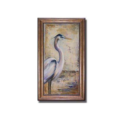 Blue Heron I by Patricia Pinto Bronze-Gold Framed Canvas Art (28 in x 16 in Framed Size)