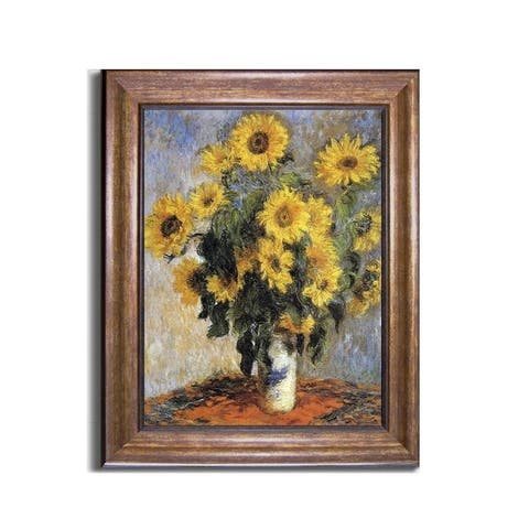 Bouquet of Sunflowers, 1880 by Claude Monet Bronze-Gold Framed Canvas Art (24 in x 20 in Framed Size)