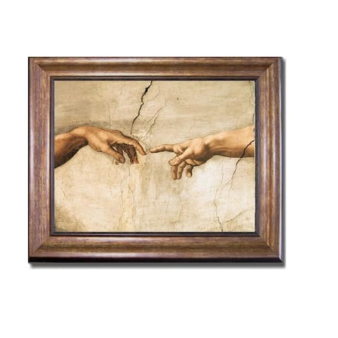 Creation of Adam (Detail) by Michelangelo Bronze-Gold Framed Canvas Art (22 in x 28 in Framed Size)