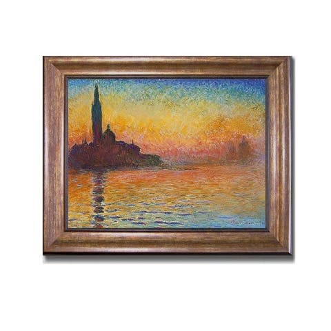 San Giorgio Maggiore by Twilight (Sunset in Venice) by Claude Monet Bronze-Gold Framed Canvas Art (19 in x 25 in Framed Size)