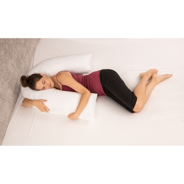 "Boomerang Body Pillow - V-Shaped Side Sleeper - Superior Comfort - Body Pillow, White - 58"" x 15"" x 10"""