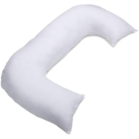 Allergen-Free Cover For C-Shaped Full Body Pillow - Stain Resistant - Pillow Cover, White