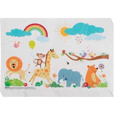 100-Pack Safari Disposable Placemats Table Mats for Kids, BPA-Free