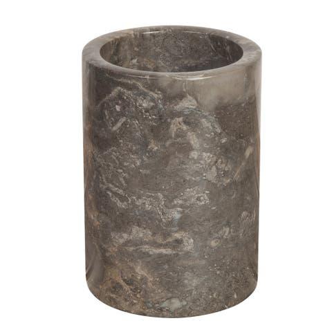 "Creative Home 74066 Natural Marble Multi-Functional Tool Crock, Utensil Holder, 5"" Diam. x 7"" H, Charcoal"
