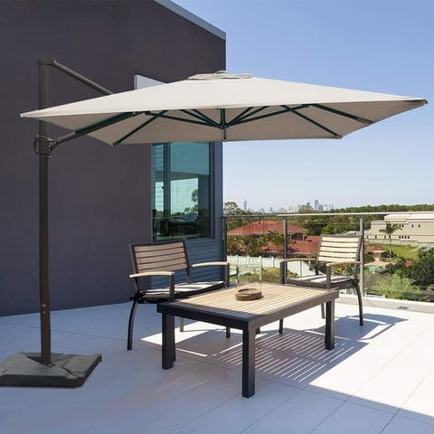 Segero 8x10 Rectangular Offset Cantilever Umbrella with Cross Base by Havenside Home