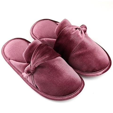 Women's Comfort Velvet House Slippers with Bow-Knot