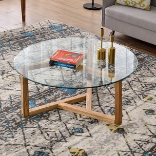 Merax Modern Round Coffee Table with Tempered Glass Top