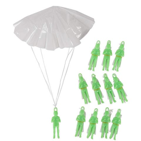12-Pack Mini Parachute Army Men, Glow in the Dark Paratrooper Parachute Toy Set