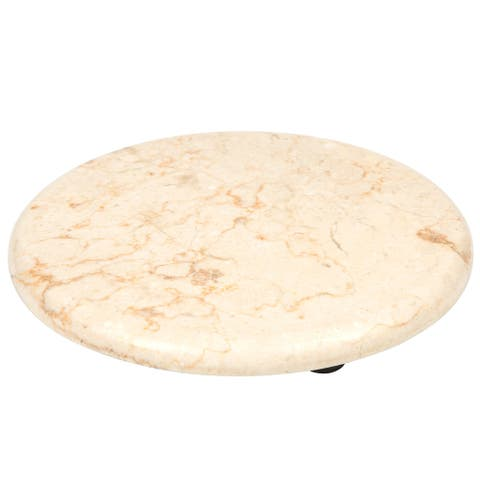 "Creative Home Genuine Champagne Marble Stone 8"" Trivet Serving Board, Beige"