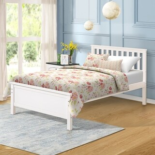 Merax Wood Platform Bed with Headboard, Footboard, Wood Slat Support