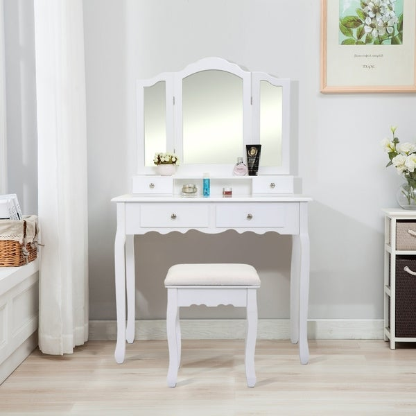 Copper Grove Pongau White 3-mirror Vanity Table
