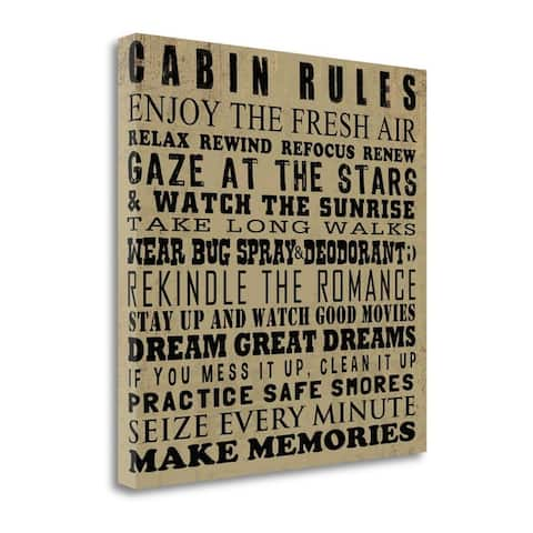 """""""Cabin Rules"""" by Jim Baldwin, Fine Art Giclee Print on Gallery Wrap Canvas, Ready to Hang"""