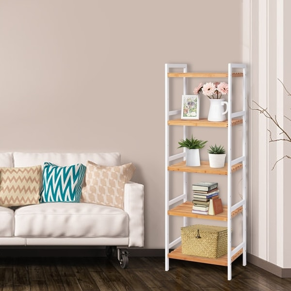 Kinbor 5-Tier Bamboo Storage Shelf, Utility Storage Rack, Adjustable Plant Stand Shelf for Bathroom, Living Room, Kitchen