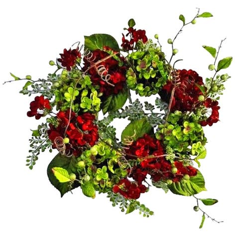 "24"" Velvet hydrangea holiday wreath"