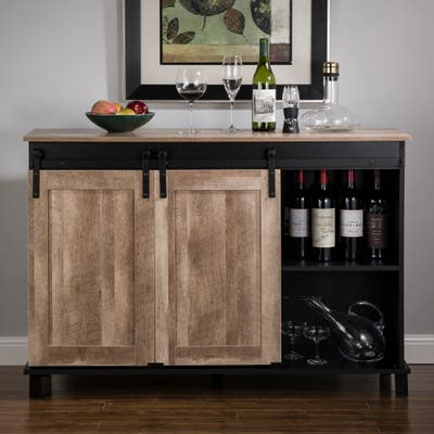 """Glitzhome 47.20""""L Modern Industrial Black Large Sideboard with Natural Top and Sliding Doors"""