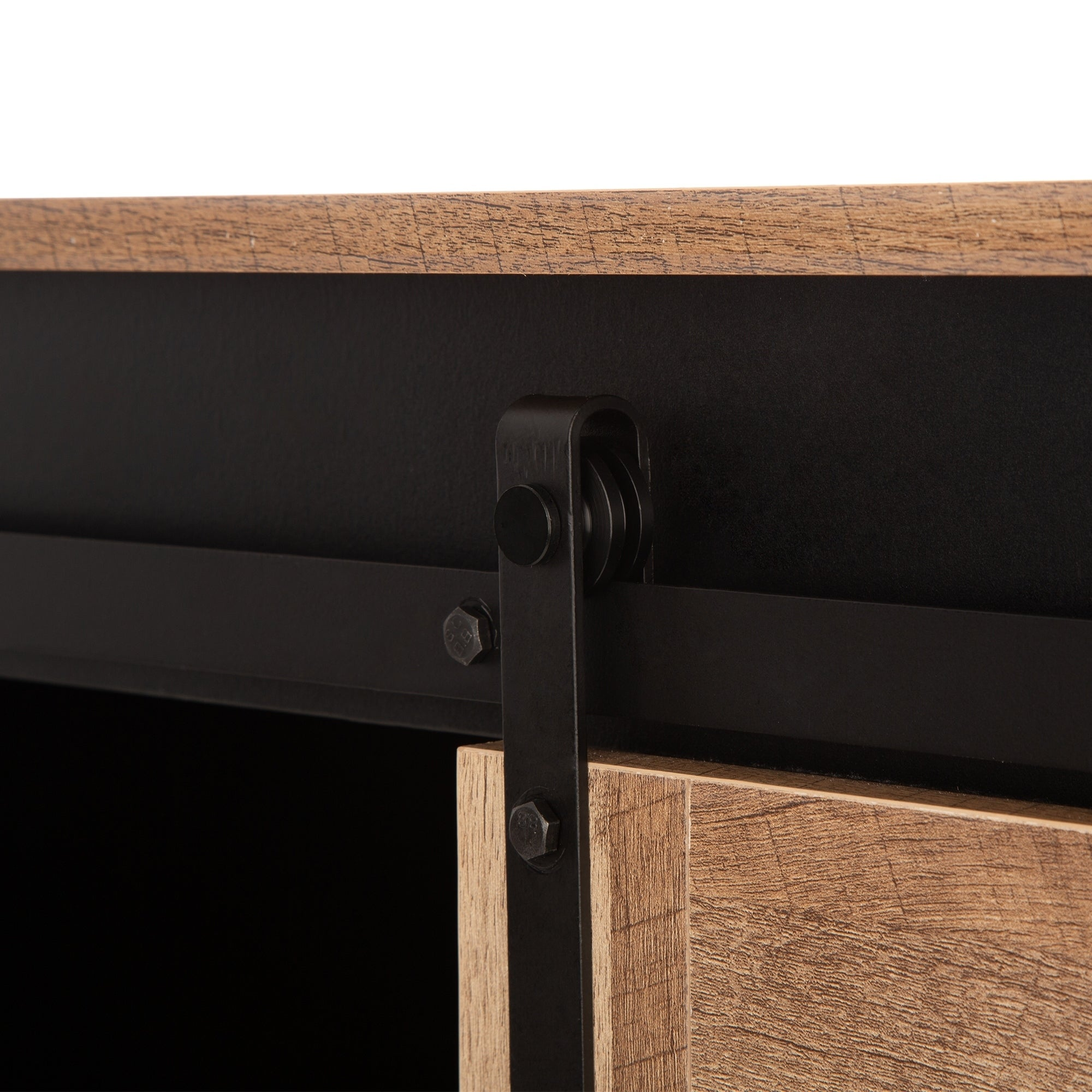 Glitzhome 47 20 L Modern Industrial Black Large Sideboard With Natural Top And Sliding Doors Overstock 30277040