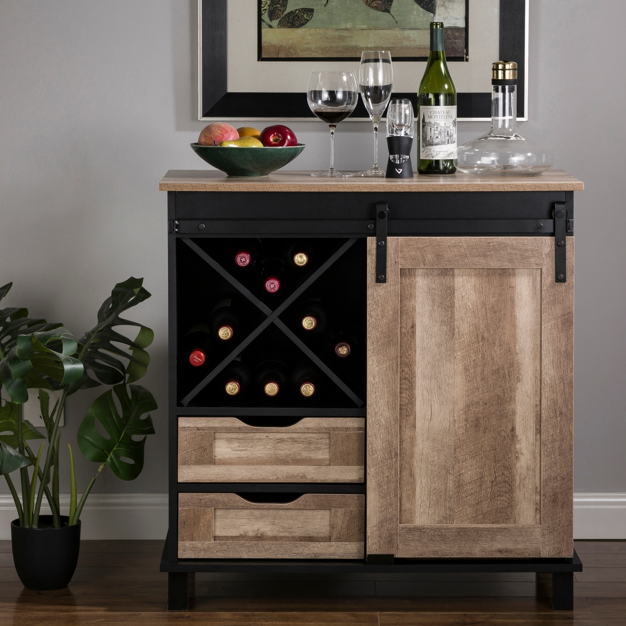 Glitzhome 31 50 L Modern Industrial Black Wine Sideboard With Natural Top And Sliding Door Overstock 30277041