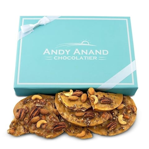 Andy Anand Old Fashioned Handmade Brittle Bridge of Almond, Cashew & Pecan 1lbs