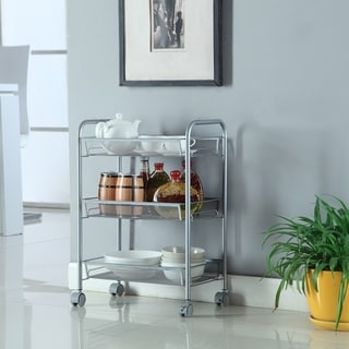 3-Tier Basket Stand Kitchen Bathroom Trolley Rolling Storage Cart