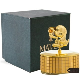 Matashi Home Decorative Tabletop Showpiece 24k Gold Plated Puppy Music Box plays Love Story Gold Ornament with Gold Crystal