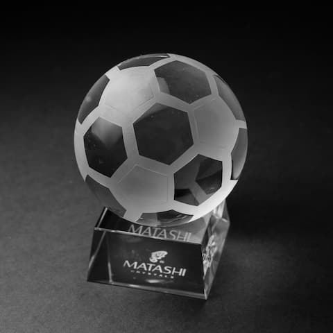 Matashi Home Decorative Tabletop Showpiece Crystal Paperweight with Etched Soccer Ball Ornament and Trapezoid Base