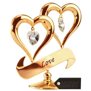 Matashi Home Decorative Tabletop Showpiece Double Heart Ornament With Crystals (Love, Gold with Clear Crystals) Best Gift