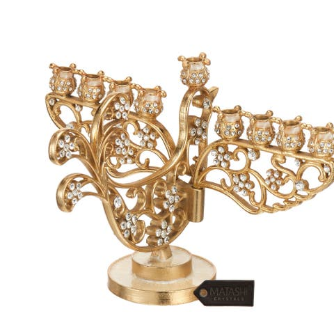 Matashi Home Decorative Tabletop Showpiece Gold Painted Dove Menorah Candelabra, Embellished with High Quality Crystals
